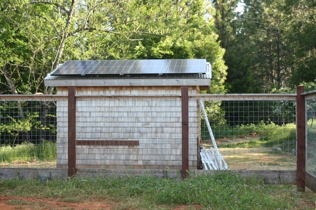 The North Star House Heritage Garden shed with solar panels