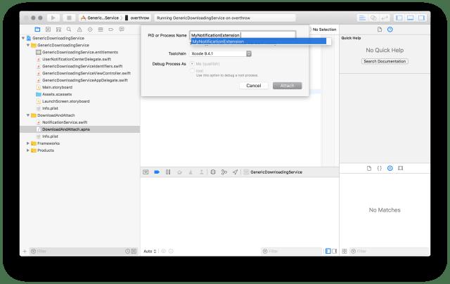 Xcode Debug menu, Enter Process Name