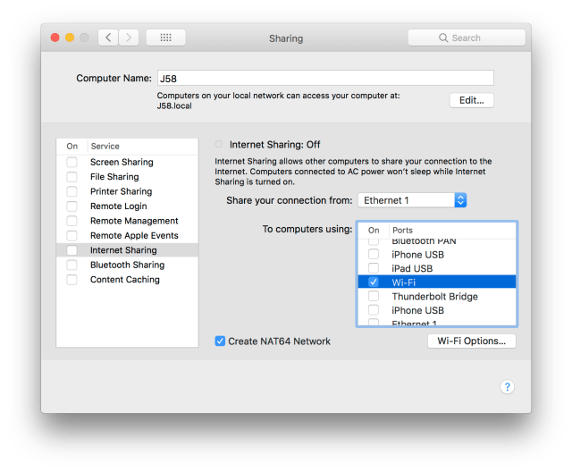 MacOS Sharing Control Panel for IPv6 connection sharing