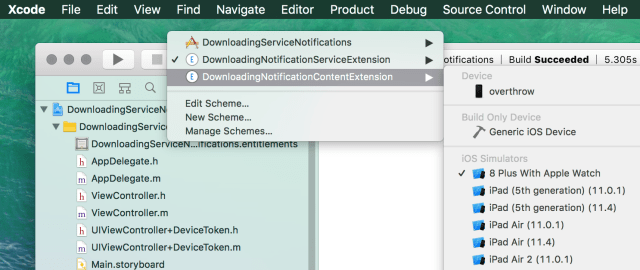 xcode select extension scheme