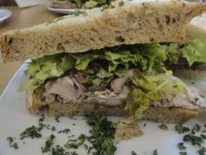 Cross section of Roast Lamb sandwich