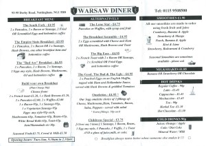 Warsaw Diner Menu