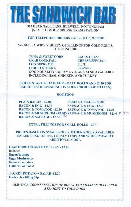 Sandwich bar menu