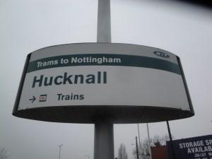 Hucknall Tran Stop sign