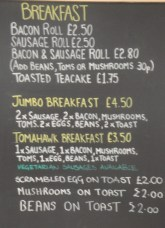 Breakfast Options at Chocs Away