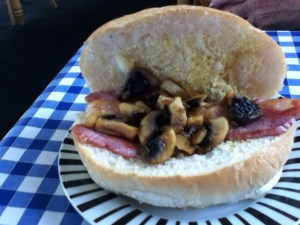 Opened Bacon and Mushroom Butty