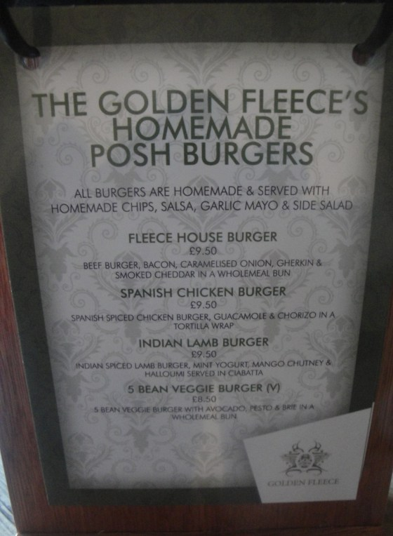 Golden Fleece Burger Menu Posh Burgers