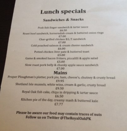 Royal Oak Lunch Specials