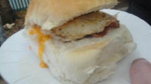 Egg and bacon Cob