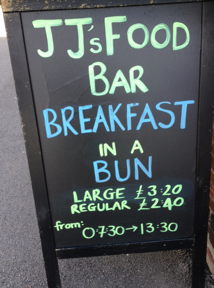 Jj s food bar for a breakfast in a bun the nottingham for Jj fish and chips