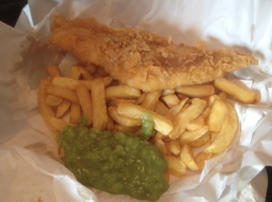 Small Haddock Chips and Peas