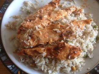 Arabian rice and chicken strips from Nevada Chicken