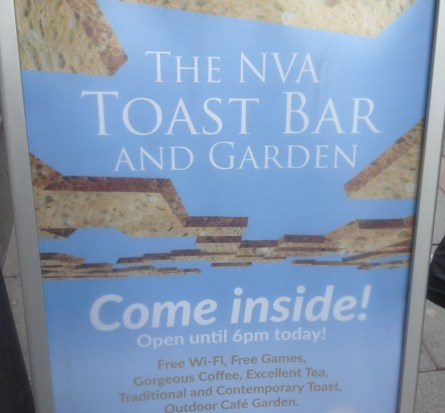 The NVA Toast Bar and Garden sign
