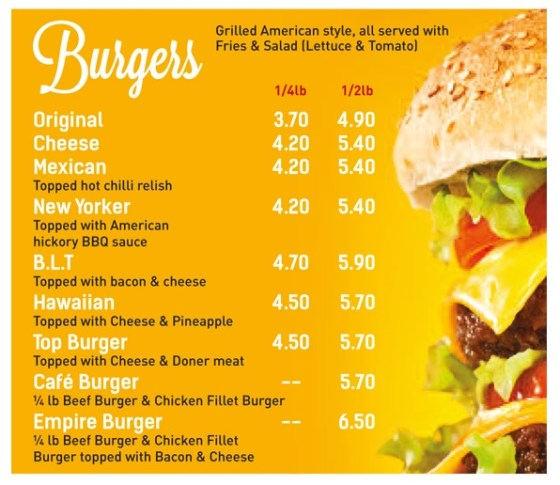 Cafe Pizza Burger Menu