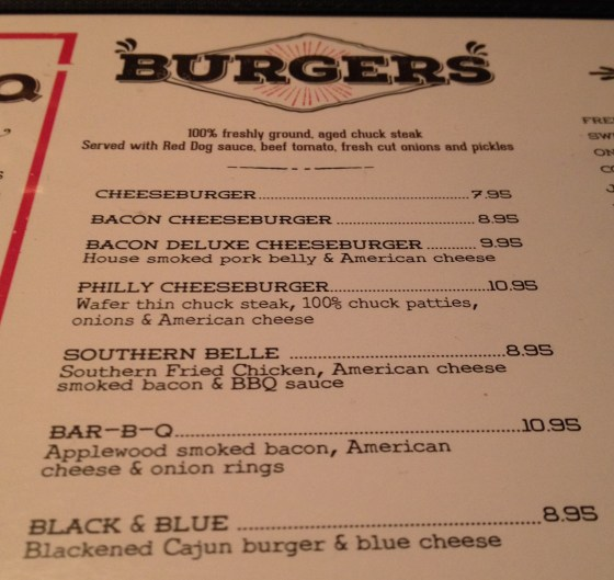 Burger Menu at Red Dog Saloon
