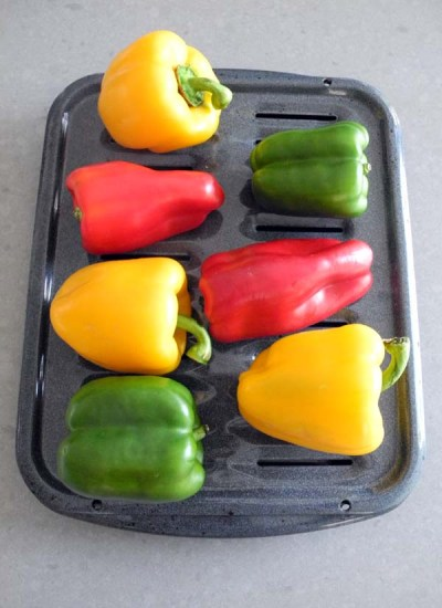 Bell peppers ready for the oven
