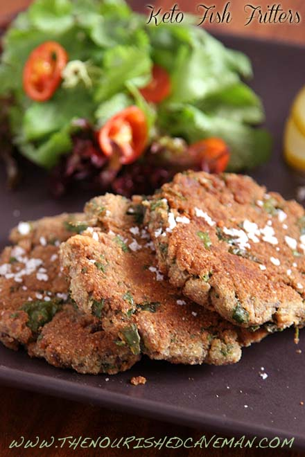 Keto Fish Fritters By The Nourished Caveman - Nutrient dense keto fish fritters, are low carb and low calorie! Delicious when smothered in my Tzatziki sauce!
