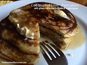Coconut Flour Pancakes with grass-fed butter and Grade B maple syrup