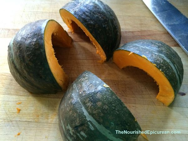 Kabocha squash, quartered