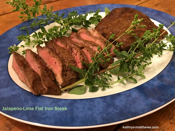 Jalapeno-Lime Flat Iron Steak, Sliced