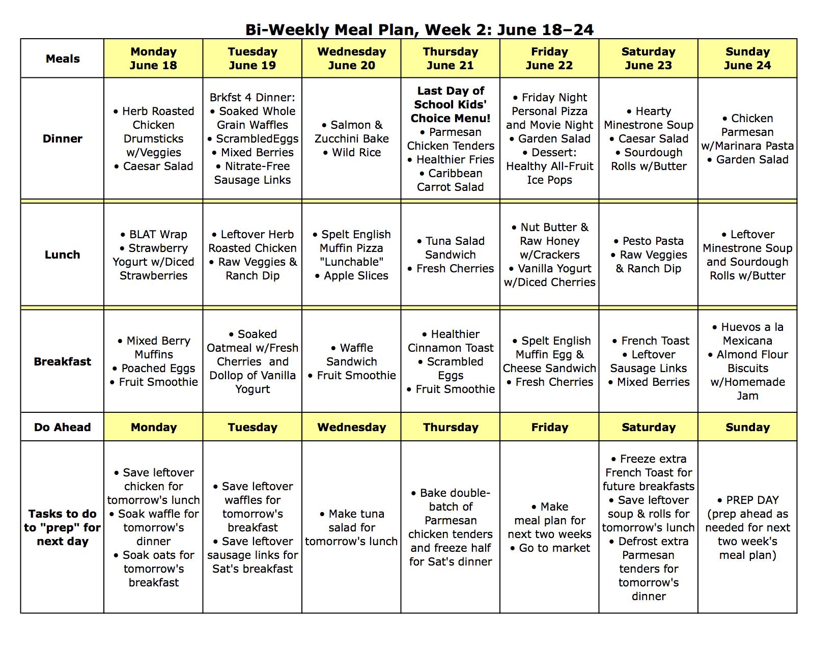 Meal Plan Monday June 11 24
