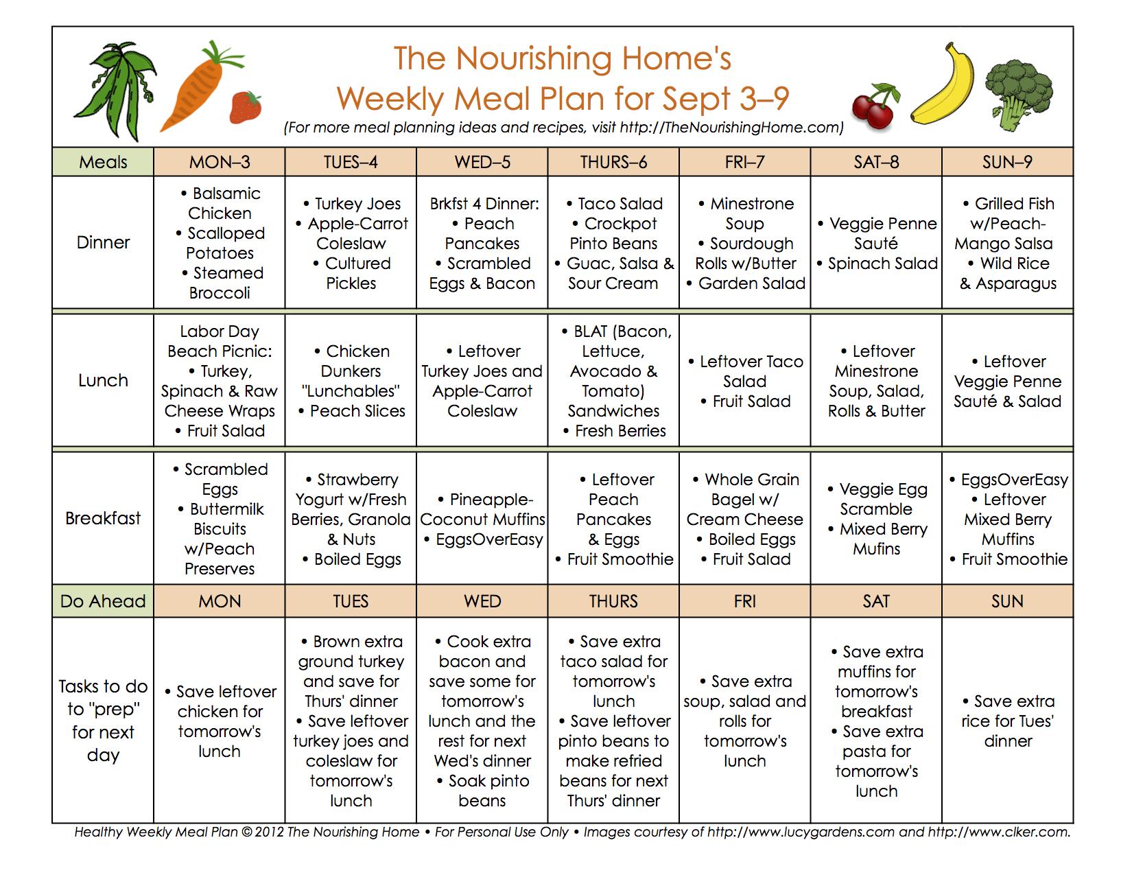 Meal Plan Monday September 3 16