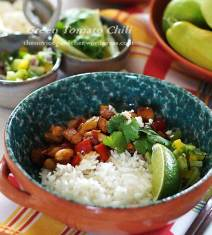 green tomato chili on rice