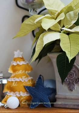 blue and yellow christmas decorations