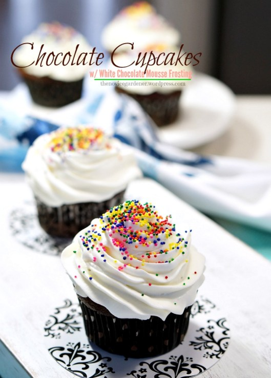 chocolate cupcakes with white chocolate frosting