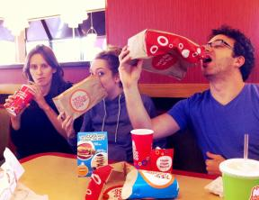 Sarah, Joanna, and Josh enjoy Arbys