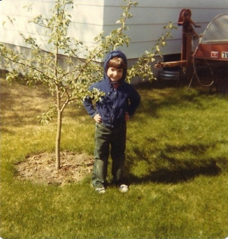 mick in front of his apple tree in 1980