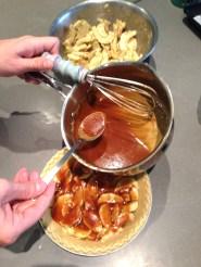 pouring caramel for four and twenty blackbirds' salted apple caramel pie