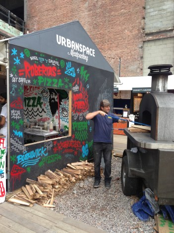 robertas pizza's mobile oven at urbanspace meatpacking