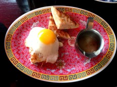 shrimp toast with fried egg, chinese sausage gravy at Talde