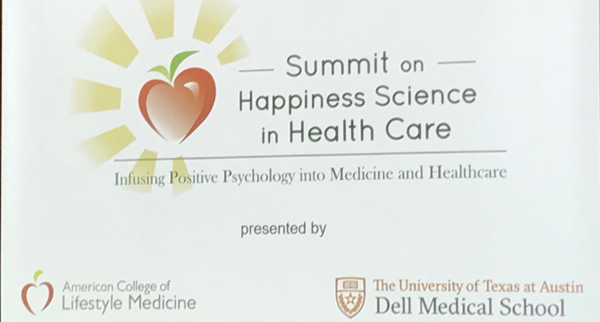 Summit on Happiness Science in Healthcare