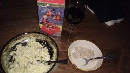 eggs, cereal, girl scout cookies, wine