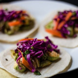 Brussels Sprouts Tacos with Mexican Slaw | www.thenutfreevegan.net
