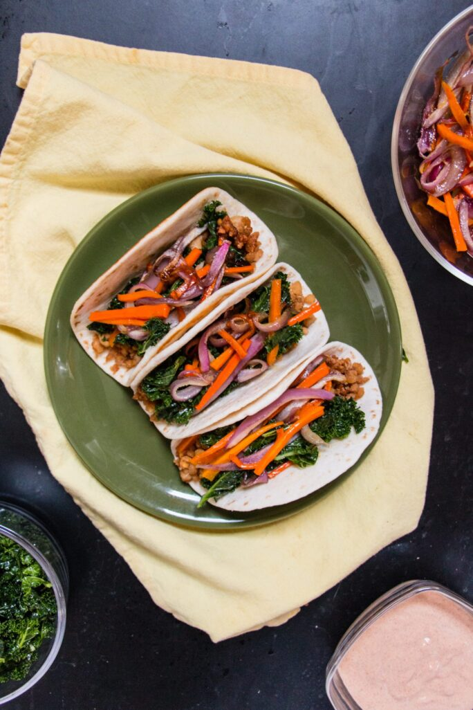 Fall Tacos with Maple Tempeh and Pumpkin Crema