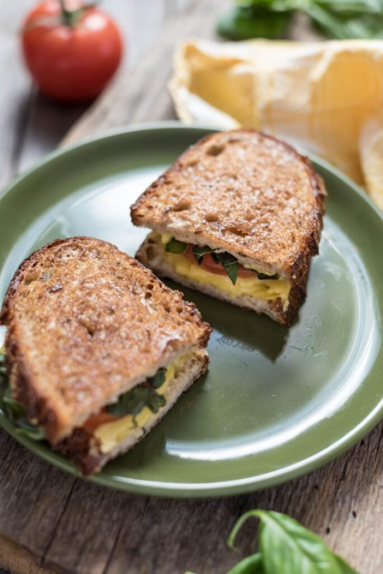 Vegan Caprese Salad Grilled Cheese Sandwich nutfreevegan