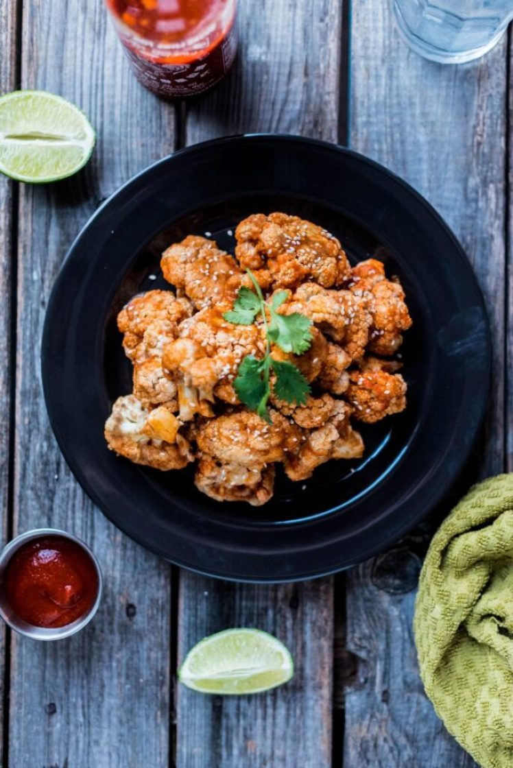 "Simple and delicious Sriracha Agave Cauliflower ""Wings"" nutfreevegan"