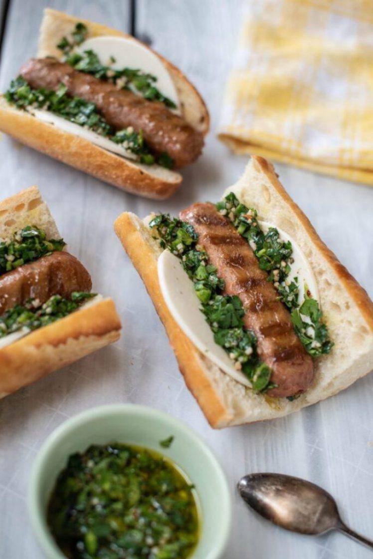 Argentine Choprián Sausage Sandwich with Beyond Meat Sausage Vegan nutfreevegan