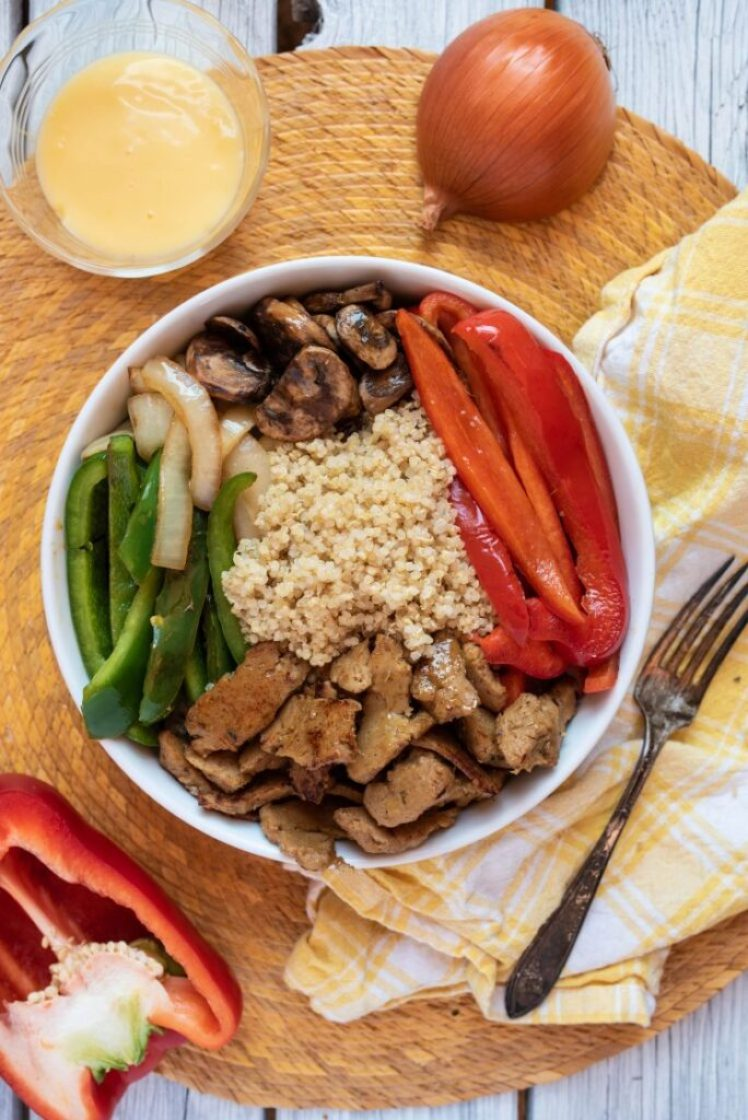 Easy Philly Cheesesteak Bowl nutfreevegan