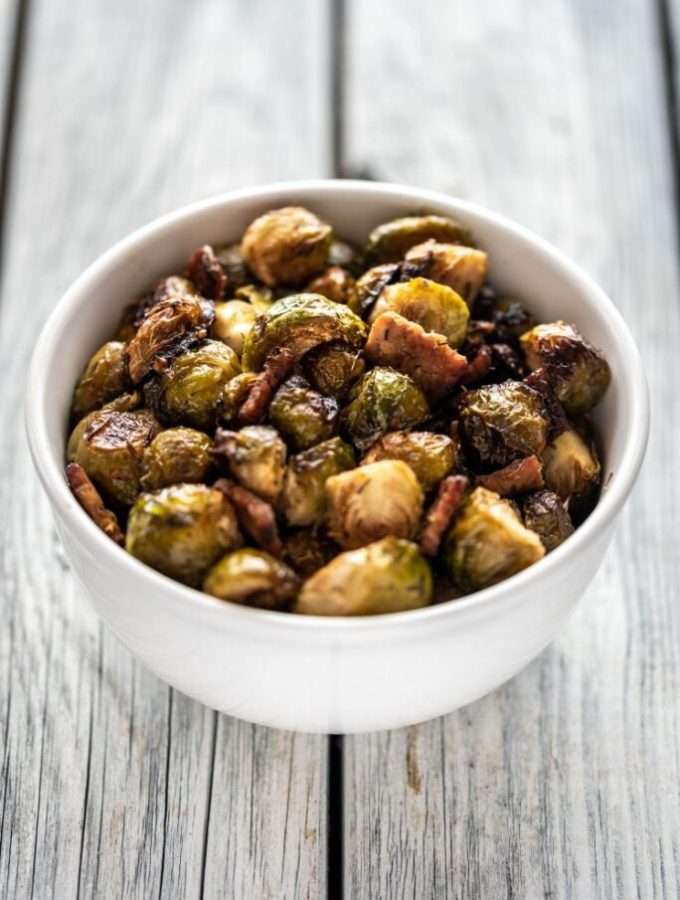 Maple Roasted Brussels Sprouts with Tempeh nutfreevegan