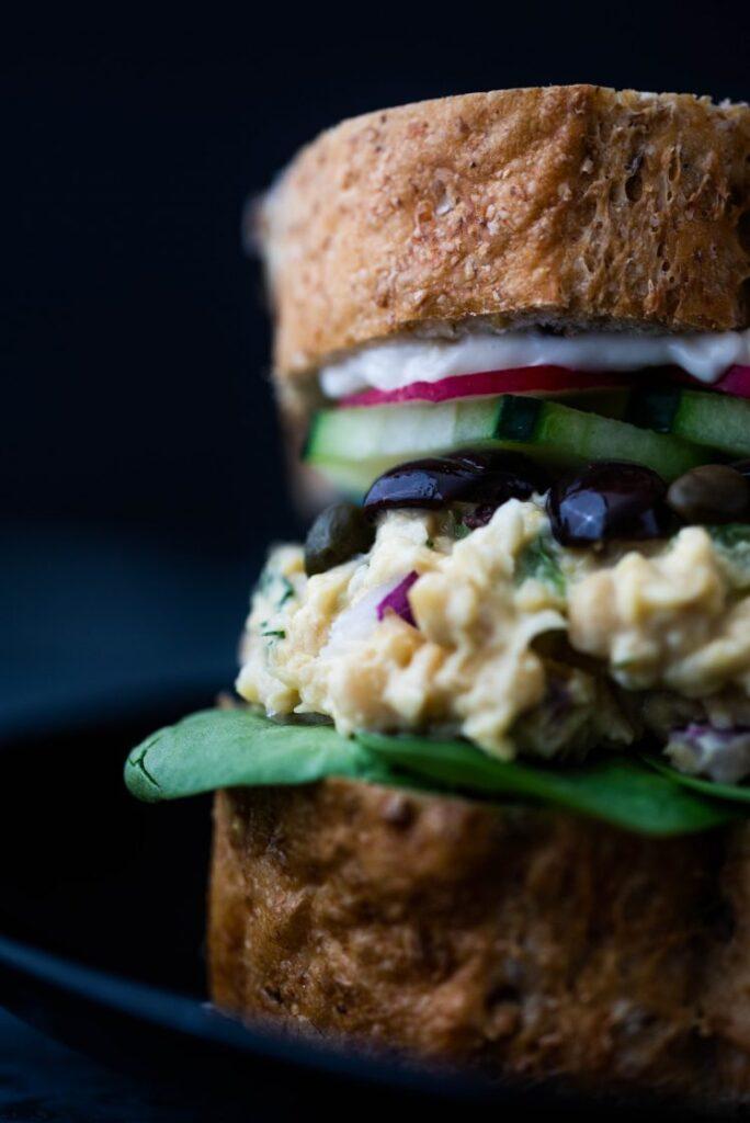 Nicoise Chickpea Salad Sandwich Nut-free vegan