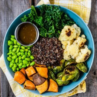Roasted Vegetable Buddha Bowl with Maple Dijon Vinaigrette