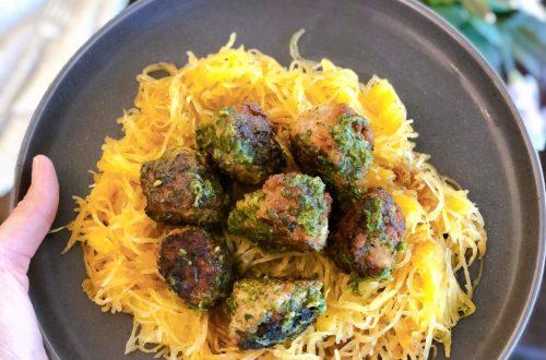AIP Friendly Spaghetti Squash and Pesto Meatballs