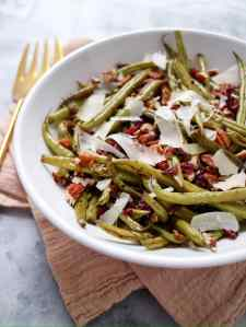 Green Beans with Pecans, Cranberries & Parmesan