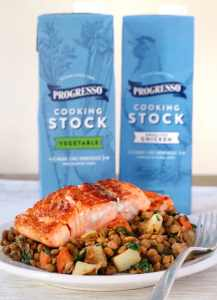 Seared Salmon & Veggieful Lentils