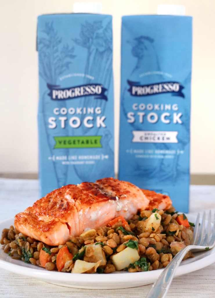 Seared Salmon with Veggieful Lentils featuring Progresso Cooking Stock