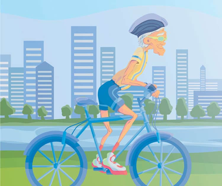 elderly man riding a Bicycle